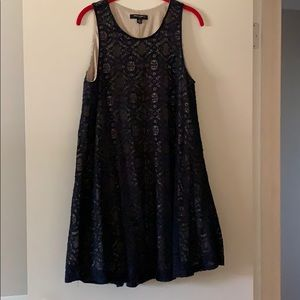 Navy blue lace swing dress